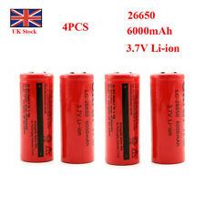 Batería 4Pcs 26650 6000mAh 3.7V Li-ion recargable de baterías para Linterna UK