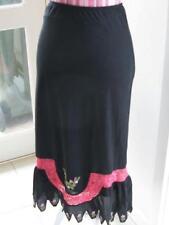 Skirt 8 Kinki Gerlinki black lined pink lace floral embroidery embellished trim