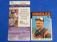 1986 TOPPS EARL WEAVER SIGNED BASEBALL CARD #321 ~ JSA Cert L69382 ~