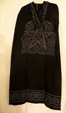 PENTAGRAM & CELTIC KNOT CLOAK / CAPE BLACK & GRAY PAGAN WICCA RITUAL ROBE - NEW