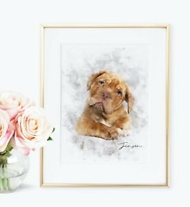 Personalised Pet Portrait Watercolour Style Illustration Keepsake Print UNFRAMED