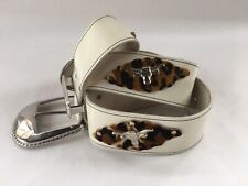 Vintage 1980s White Western Belt With Leopard And Steer Silver Buckle Med Large