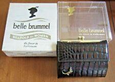 Vtg BELLE BRUMMEL Billfold, French Purse, Wallet, Brown Leather, Moc-Alligator