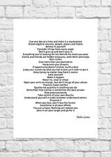 Dalai Lama Inspirational Poem - Live One Day At A Time - A4 Size