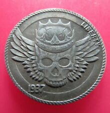 1937 US 5 CENT HOBO WINGED CROWNED SKULL BUFFALO LIBERTY PRESSED FANTASY COIN