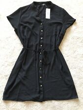 Black button through belted Dress by Matalan. Cap Sleeve. Size 18. New + Tags.