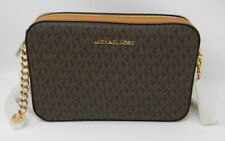 New Michael Kors Brown Signature Acorn Leather LG East West Crossbody Purse $228