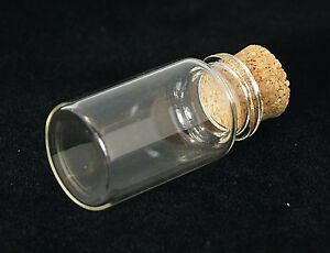 5 Glass 15x22mm Vial Bottles with Cork Craft Pendant (A2)