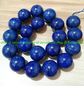 """Selten Enorm 20mm Natürliche Blau Lapislazuli Rund Edelstein Lose Perlen 15"""" AAA"""