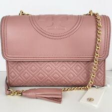 Tory Burch Fleming Large Pink Magnolia Leather Chain Convertible Crossbody Bag