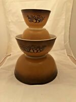 VINTAGE PYREX OLD ORCHARD NESTING MIXING BOWL SET FRUIT~BROWN~BUTTERSCOTCH