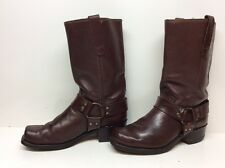 #E VTG MENS SEARS SQUARE TOE HARNESS MOTORCYCLE LEATHER BURGUNDY BOOTS SIZE 8 D