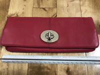 Coach Pink Fold Over Flap Leather Clutch - NWT!