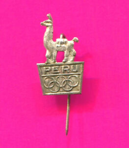 1980 s PERU NOC PIN VINTAGE SILVER OLYMPIC PIN NATIONAL OLYMPIC COMMITTEE PIN