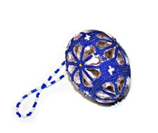 Easter Beaded Egg, Ukrainian Traditional Holiday Egg, Color: White and Blue