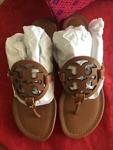 Tory Burch Miller Vintage Vachetta Brown 9.5 AUTHENTIC Sandals Thong NIB