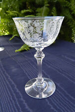 Tiffin JUNE NIGHT Etched Crystal Liquor Cocktail Ribbed Stem #17392 MINT