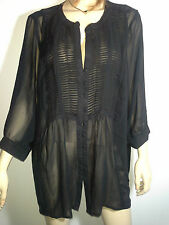 AVENUE USA Plus Size 24 Black Sheer Flouncy Blouse Romantic Flirty NWT $159