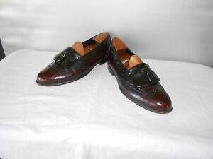Men's Johnston & Murphy Burgundy Leather Dress Wingtip Tassel Loafers Size 10 D