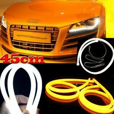 "2x18"" Switchback LED Tube Strip DRL Daytime Run Light White/Amber For Audi-Style"
