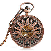 Elegant Rose Copper Automatic Mechanical Pocket Watch Chain Self Winding Gift