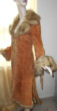 BOHO Hippie Free People LOOK SUEDE Faux Fur Trimmed  Below The  Knee Jacket XS
