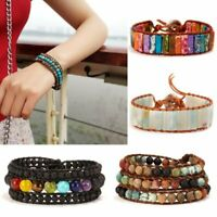 7 Chakras Natural Stone Leather Wrap Braided Wristband Beaded Bracelet Bangle