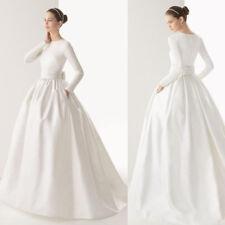 Elegant White Ball Gowns Wedding Dresses Formal Bow Floor Length Bridal Gowns