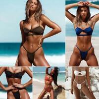 Women's Brazilian Bikini Sexy Knotted Padded Thong Bikini Set Swimwear Swimsuit
