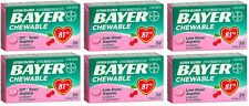 6 Pack Bayer Chewable Low Dose Child Aspirin 81mg Tablets Cherry 36 Tablets Each