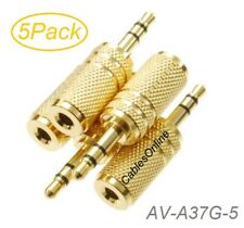5-Pack 3.5mm Stereo TRS Male Plug to 3.5mm Mono TS Female Jack Audio Adapters