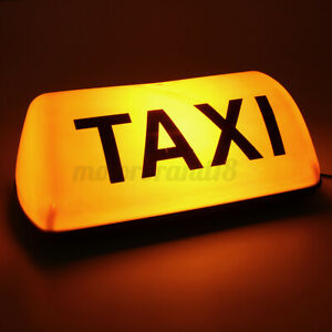 Yellow 12V Taxi Cab Sign Roof Topper Car Magnetic Sign Lamp Light Waterproo