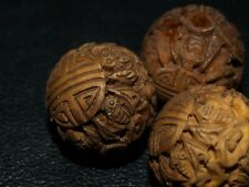 Vintage Carved Chinese Wood Wooden Bead Bats Double Shou Round Detailed 20mm