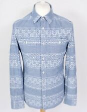 All Saints Oslo Chambray Shirt M Slim Fit Light Blue Denim Nordic Fairisle Snow