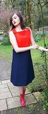 1960s Couture Flame Red and Navy Wool A line dress