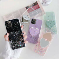 Glitter Case For iPhone 12 11 Pro Max XR XS X 8 7 Plus Mirror Stand Holder Cover