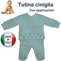 Tutina ciniglia neonato flower produzione italiana certificata misura a scelta