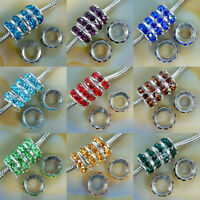 30pcs Big Hole Crystal Rhinestones Silver Rondelle Spacer Beads European Charm