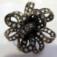 Estate Ring White Sapphires Silver Black Rodium Sz  6.25 Mint