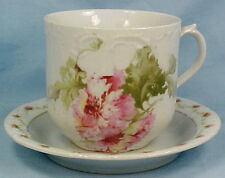 Pink Flowers Porcelain Cup & Saucer Victoria Austria Whiteware Vintage SO PRETTY