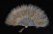 "MARABOU FEATHER FAN - BONE Feathers 12"" x 20"" Sexy/Fans/Burlesque/Bridal"
