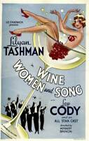 OLD MOVIE PHOTO Wine Poster Women And Song 1933