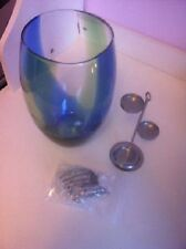 Partylite SPRING ART GLASS MULTI TEALIGHT HURRICANE HOLDER W BEADS & TREE NIB