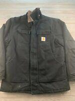*Carhartt Jacket Black canvas winter Coat Full Zip Insulated Men's Sz Unknown