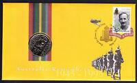 1995 Australia Remembers WW2 WWII stamp & coin FDC FDI Cover POW Prisoner of War