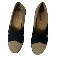 CLARKS COLLECTION Soft Cushion Loafers Suede Tan & Black Comfort Size 8.5 M