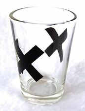 """Shot Glass """"X"""" Clear Glass with Black X Shooter 2-1/2 inch Jigger"""
