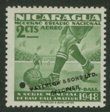 Nicaragua 1949 Soccer 2c Waterlow sample in green
