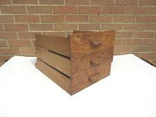 vintage wooden shop haberdashery storage display drawers x 3 .