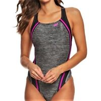 Women's Speedo Heather Quantum Splice One Piece Competition Swimsuit Size 10